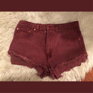Red High-waisted Denim Shorts